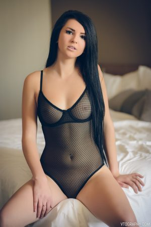 Kayla in mesh bodysuit