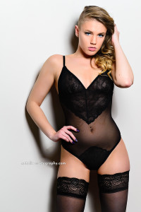 Natalie in black lace bodysuit, shot with an AlienBees B1600 flash unit