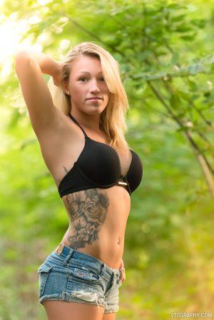 Model Alyssa in black bikini top