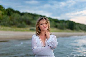 Scarlett in white dress at Nickel Beach