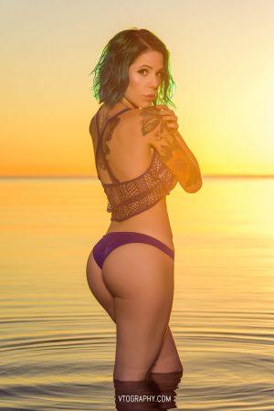 Gamer Girl wears Victoria's Secret for sunrise photo shoot