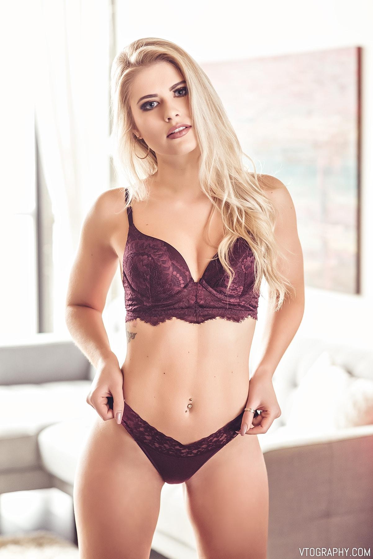 Sami in burgundy lingerie from La Senza