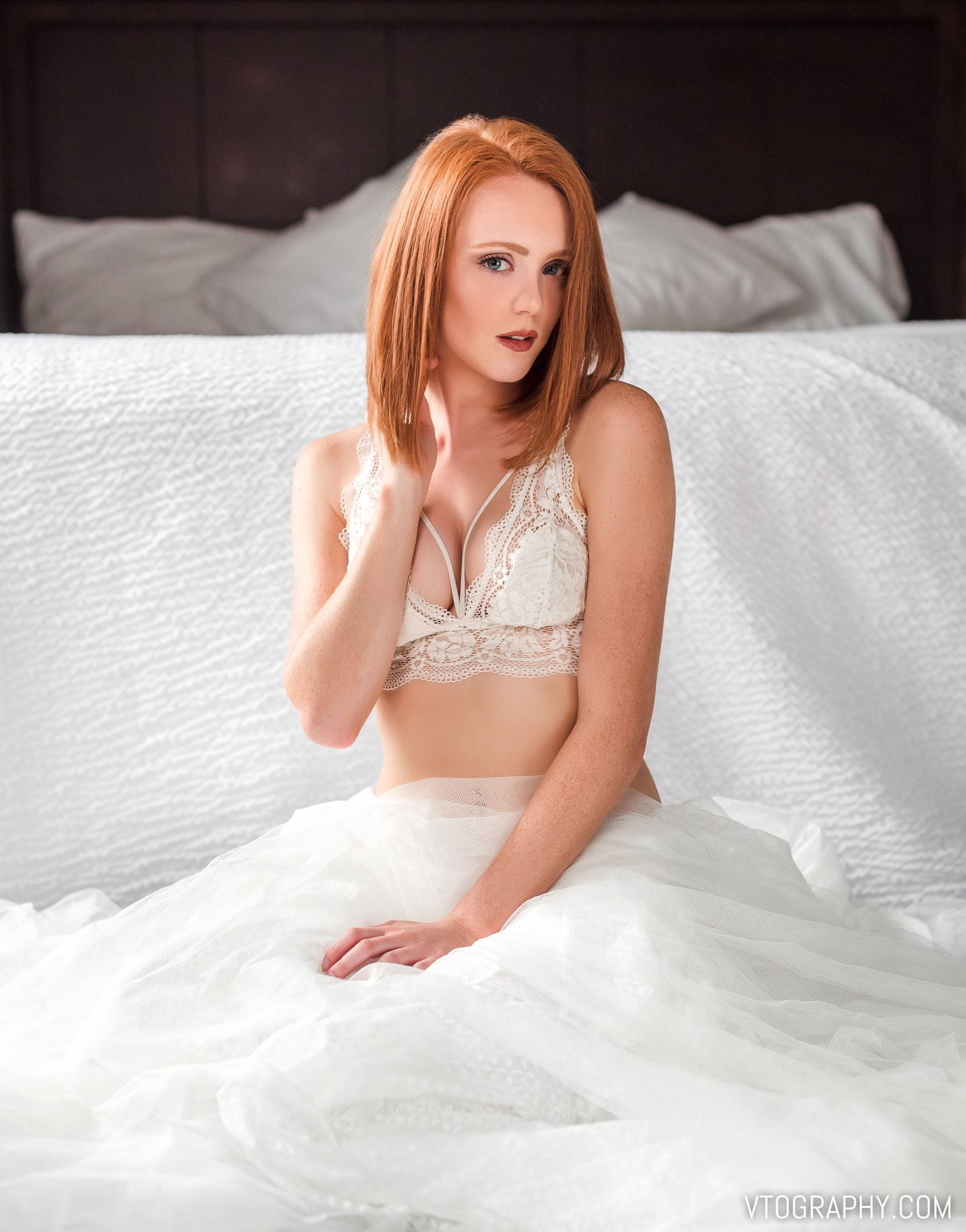 Ginger model Ashley in lace top